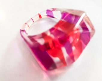 Pink Lucite Ring Vintage Jewelry FALL SALE
