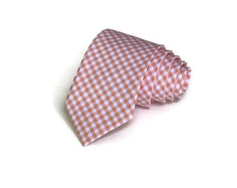 Peach Gingham Necktie~Anniversary Gift~Wedding Tie~Boy Necktie~Mens Necktie~Wedding~Mens Tie~Boy Tie~Mens Gift~Peach Wedding~Peach Tie~Groom