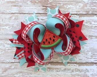 watermelon bow, watermelon headband, cake smash bow, birthday bow, watermelon hair bow, watermelon bows, watermelon headband, red blue bow