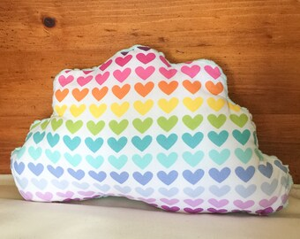 Cloud Pillow in Rainbow Hearts