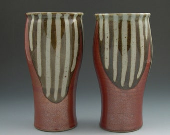 Pint Size Tumbler in Red with Brown stripes Handmade Pottery