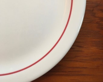 Dinner Plate, White Red Stripe, Heavy Durable Restaurant Ware by Shenango ca. 1969