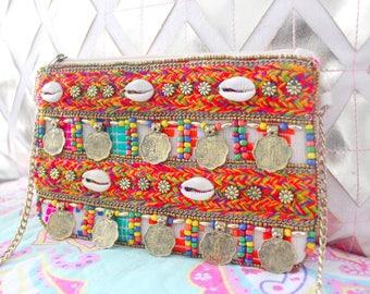 pochette ethnique multicolore hippie