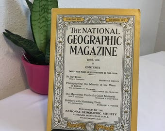 Vintage Magazine, June 1928, National Geographic, free shipping US & Canada