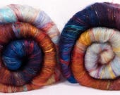 Fiber Batts -  Eleanor of Aquitaine - (3.4 oz.) 35% Cotswold fleece; merino, silk, bamboo, angelina, silk noil