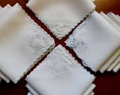 Vintage Linen Napkins Madeira White Luncheon Cocktail Embroidered Cutwork 16 Hand Mixed Lot Large