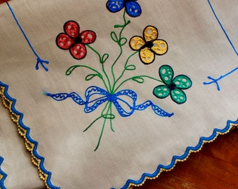Vintage Dresser Scarf Embroidery Runner Unbleached Linen Bright Flowers Mod