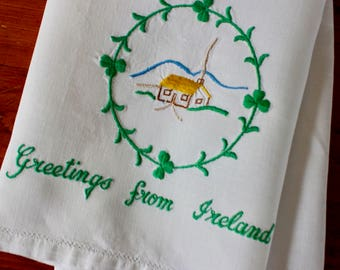 Vintage Linen Tea Dish Towel Ireland Irish Souvenir Embroidered Greetings Shamrocks Cottage