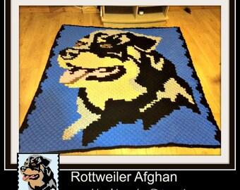 Rottweiler Afghan C2C Crochet Graph and Written Word Chart