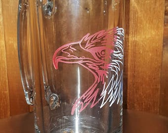 Hand etched, tribal style Eagle beer mug