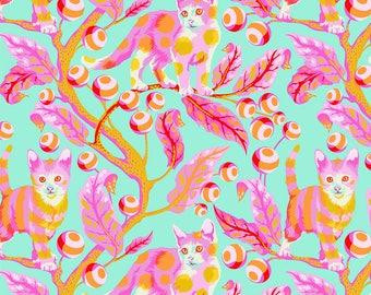 Tabby Road by Tula Pink for Free Spirit - Disco Kitty - Strawberry Fields - 1/2 Yard Cotton Quilt Fabric 517