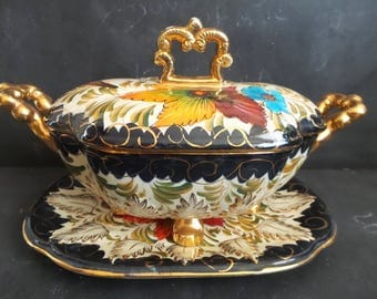 Vintage hand decorated ceramic soup tureen and under tray. Hollywood regency Colourful Serving.