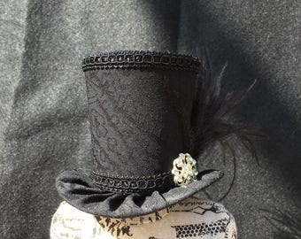 Black Paisley Mad Hatter Mini Top Hat for Wedding. Dress Up, Birthday, Tea Party or Photo Prop
