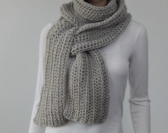 Neutral Dove Color, Pale Grayish Beige Scarf, Wrap Scarf, Fall Fashion, Womens Winter Scarf, Straight Scarf, MarlowsGiftCottage