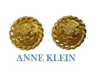 Anne Klein earrings, signature lion earrings, gold lion in rope frame, pierced earrings, button earrings, circle earrings