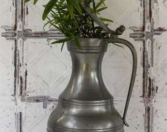 "French Antique Pewter Pitcher height 12.1/2""...Fleur de Lys Decoration...Vintage Home Decor....Nordic Living...Shabby Chic."