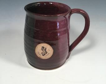 Pottery Mug -  Ceramic Coffee Cup - 16 oz - Ready to Ship - Purple and Black - Grapes stamp  -  ceramics - pottery - stoneware