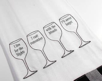 Embroidered Towel - Kitchen Towel - Wine  Kitchen Towel - 10 dollar gift - Funny Kitchen Towel- Wine Drinker -  funny wine gift – tea towel