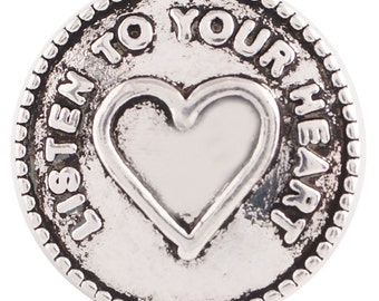 1 PC - 18MM Listen to your Heart Silver Tone Charm for Candy Snap Jewelry KC6176 Cc2810