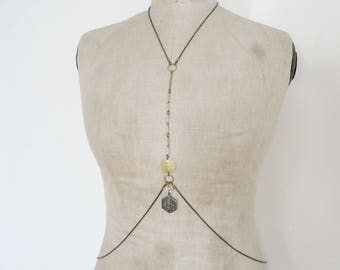 Bohemian chic body chain, harness - Gaby