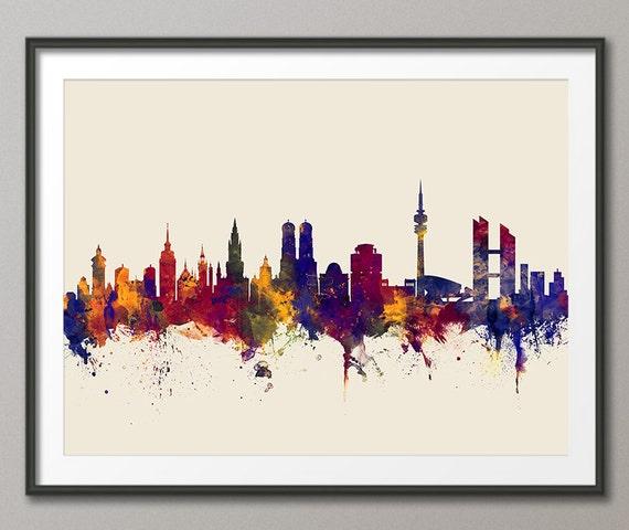 munich skyline m nchen germany cityscape art print 2663. Black Bedroom Furniture Sets. Home Design Ideas