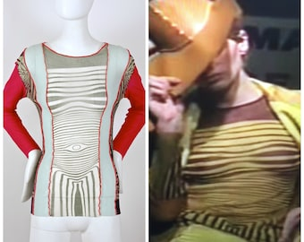 """Vintage 1996 JEAN PAUL GAULTIER """"Cyberbaba/ Body Map"""" Optical Illusion Shirt Top"""