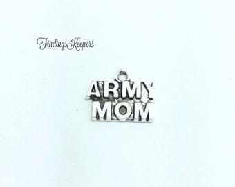 4 Army Mom Charm, Antique Silver Tone 20 x 12 mm  ts1162