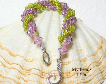 Double Spiral Bracelet, Spiral Beaded Bracelet, Beaded Spiral, Crystal Bracelet, Seed Bead Bracelet, Pink Beadwoven Bracelet, MyBeads4You