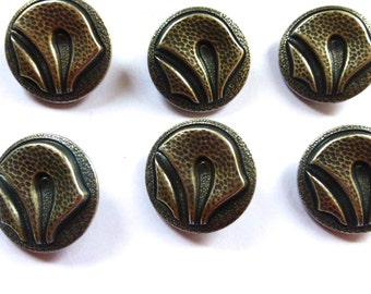 Set of Six Arts and Crafts Scandenavian Pewter Buttons