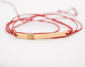 wrap bracelet // gold bar wrap bracelet, anklet, red cord bracelet, red cotton cord wrap bracelet