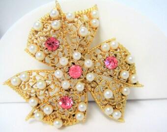 Pink Rhinestone Brooch - Faux Pearl Highlights -  Wedding Bow Pin