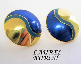 Laurel Burch Earrings - Vintage Pierced Blue - Gold Tone Swirls