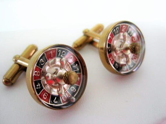 Roulette Wheel Cufflinks  - Signed Austria - Mother of Pearl Center  - Red Black Enamel Numbers - Men's Accessory