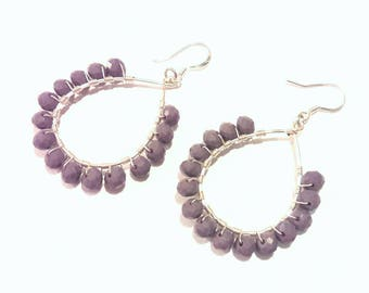 Teardrop Beaded Hoop Earrings with Silver Wire Wrap and Gray Lavender Crystals -- Boho -- Gypsy -- Hippie Chic Styling