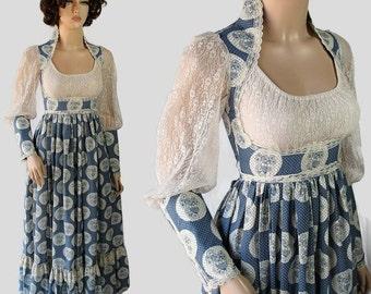 On Sale 70s Gunne Sax Dress Hippie Boho Ren Faire Costume Princess