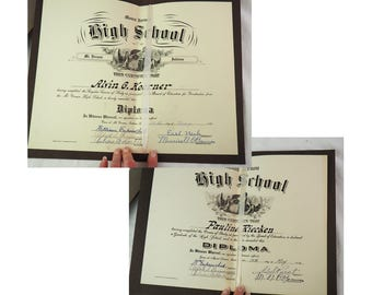 Antique High School Diplomas- Set of Two- 1927 and 1930- Married Couple- Indiana- With Programs- Large- Calligraphy