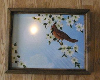 Framed cardinal dogwood flowers lighted LED canvas art print picture decor sign