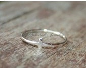 BLACK FRIDAY CYBER Monday Simple Cross Ring - Sterling silver religious ring - delicate dainty simple ring jewelry - stacker stackable stack