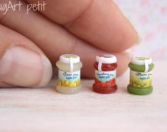Set of tiny  jams for dollhouse. 1:12 scale