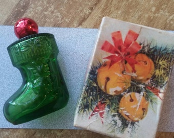 CHRISTMAS AVON COLOGNE Sweet Honesty Boot Green Red Vintage Decanter
