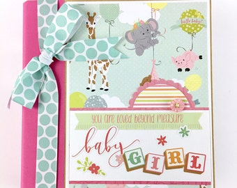 Baby Girl Scrapbook Mini Album Kit or Premade Newborn Shower Gift