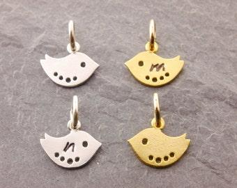Add-On Baby Bird Charm, add on charm, silver bird charm, gold bird charm, mini bird charm, small bird charm, bracelet charm, AD