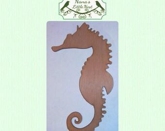 Cute Solid Seahorse (Medium) Wood Cut Out - Laser Cut