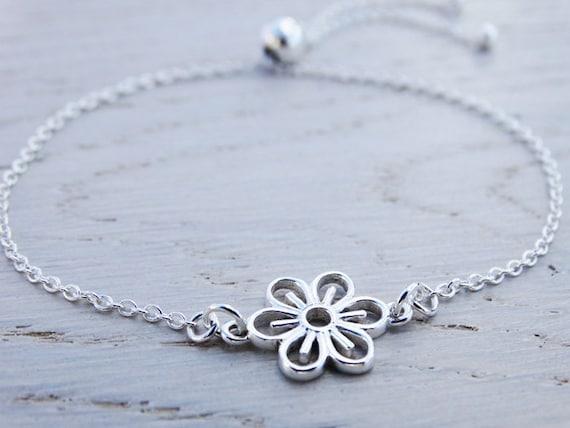 Silver Flower Bracelet - Slider Clasp - Sterling Silver