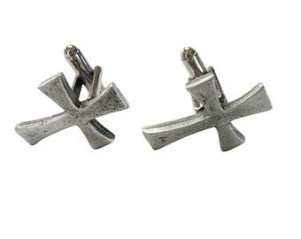 Silver Toned Textured Cross Cufflinks