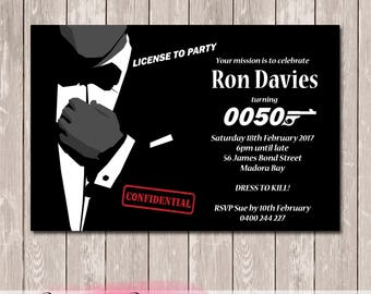James Bond 007 Personalised Birthday Invitation - YOU PRINT