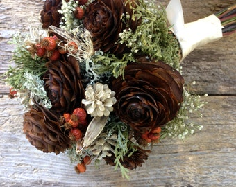 Classic Winter Rose Bridal Bouquet - Dried Wedding Bouquet- Cedar Cone, Pine Cone, Evergreen, Rose Hips, Lichen & Baby's Breath