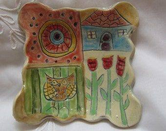 Folk Art Ceramic Colorful Dish Dining and Kitchen Decor House Warming Gift for New Home Spoon Rest
