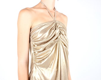 SALE - 90s does 70s Metallic Gold Lame Bianca Jagger DISCO Ruched / Gathered Drape Halter Neck Party Top