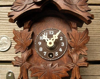 Vintage J Engstler Mini Wooden Clock - Made West Germany Key Wound Novelty Wall Clock - One Day Pendulette Style Time Piece - Needs Pendulum